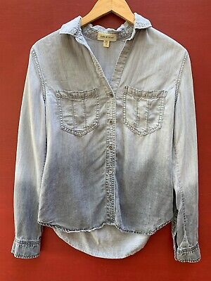 $ CDN35.66 • Buy Anthropologie Top Small Cloth And Stone Gray Chambray Button Down Shirt Ombré