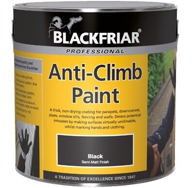 Blackfriar Anti-Climb Vandal Security Paint - Outdoor Semi-Matt Black • 19.75£