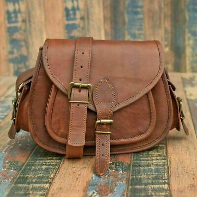 Women's Brown Handmade Natural Tan Pure Goat Leather Vintage Messenger Bag Purse • 23£