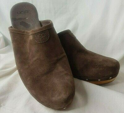 Genuine Ugg Chestnut Suede Mules Clogs Shearling Lined UK 7  • 34.99£