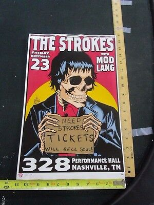 $70 • Buy 2001 Rock Roll Concert Poster The Strokes Mod Lang Brain Ewing S/N # 300