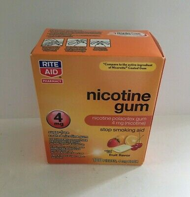 $ CDN48.16 • Buy Nicotine Gum 4mg Fruit Flavor 100 Coated Pieces By Rite Aid, Stop Smoking Aid