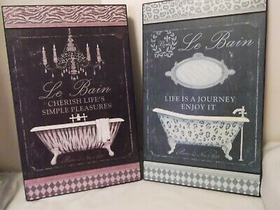 £14.16 • Buy 2 French Bath Wall Decor Tubs And French Words