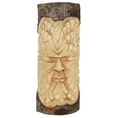 GREEN MAN WOOD CARVING. Wicca. 30 CM . New. • 17.99£