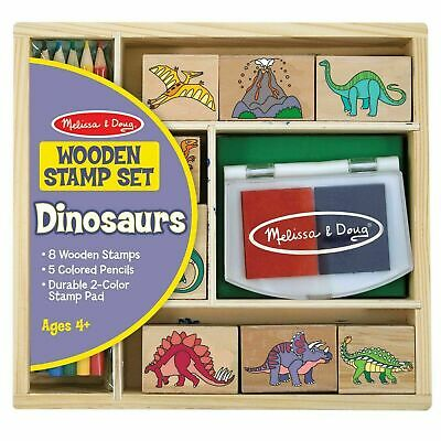 Melissa & Doug Dinosaur Stamp Set, Wooden Storage Box, Crafts - Ages 4 Years + • 11.08£