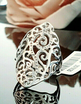 Ladies Contemporary Chunky 925 Sterling Silver Filigree Design Ring Size M . • 16.95£