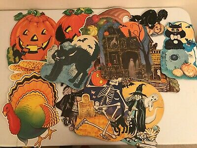 $ CDN17.17 • Buy Vintage Lot 14 Halloween Thanksgiving Die Cuts Wall Hangings Decorations
