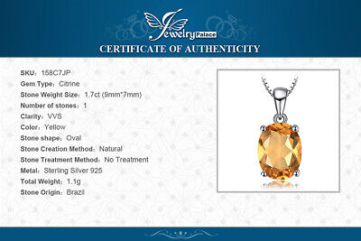 £13.45 • Buy Natural 1.7 Ct Citrine Pendant With 925 Sterling Silver Necklace UK Seller
