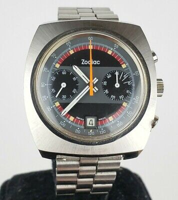 $ CDN1001.21 • Buy Excellent Vintage 1970s Mens Zodiac Cal 84 Stainless Chronograph Watch Cal. 7734