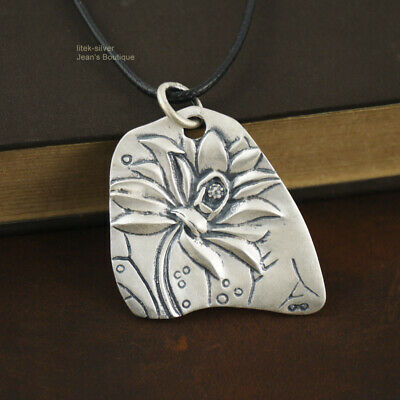 $ CDN48.67 • Buy 990 Sterling Silver Women Retro Lotus Flower Yoga Namaste Large Pendant A2233