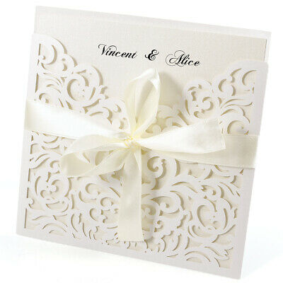 10x Wedding Invitations Handmade Blank Card + Free Envelopes Lace Cut Out • 11.09£