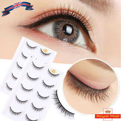 UK 3D Natural Mink Short False Eyelashes Makeup5 Pairs Hand-made Fake Eye Lashes • 2.99£