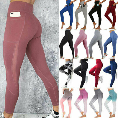 Womens High Waist Gym Leggings Pocket Fitness Sports Running Train Yoga Pants N8 • 14.96£