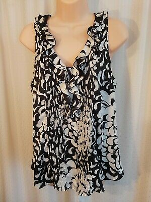 $ CDN34.99 • Buy White House Black Market Sleeveless Blouse Tunic Size M Black White Ruffles