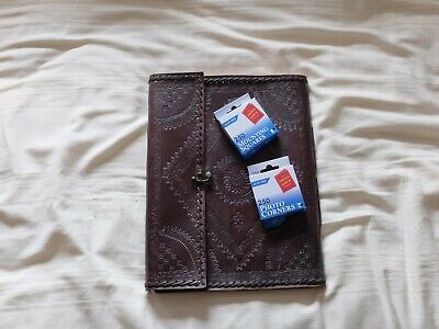 Extra Large Stitched And Embossed Leather Photo Album With Clasp • 5.50£