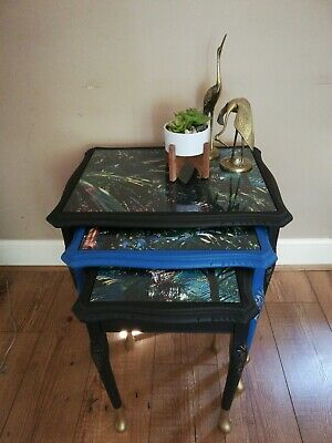 Refurbished Eclectic Nest Of Three Tables, Black, Blue, Gold, Unique, Glass Tops • 125£