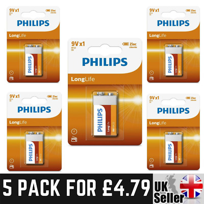 Philips 9V 9 Volt PP3 ZINC Chloride Batteries For Smoke Alarm | ** 5 Pack ** • 4.79£