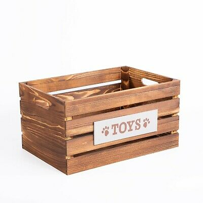 Paw Print Dog Toys Chest Storage Collection Box Wooden Crates Gift Hampers • 12.34£