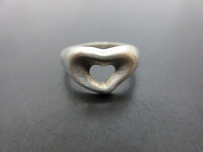 Auth Tiffany & Co. Heart Ring EU48 US4.5-5 JP8 Sterling Silver 925 Good 85972 • 29.81£