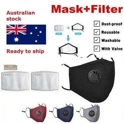 AU7.50 • Buy Reusable Washable Cotton Fabric Face Mask W Valve Respirator 2xFree PM2.5 Filter