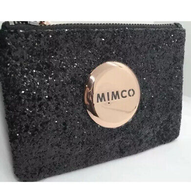 AU32.50 • Buy MIMCO Small Pouch Black Glitter Wallet Purse Clutch Rosegold Bag BNWT Authentic