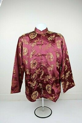 $45 • Buy Men Burgendy Traditional Chinese Tang Fu Silk Golden Dragon Suit W/ Pockets S/M
