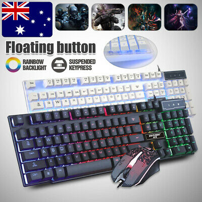 AU21.99 • Buy Led Gaming Keyboard + Mouse Usb Wired Rgb Colour Back Light Up Rainbow Pc Laptop