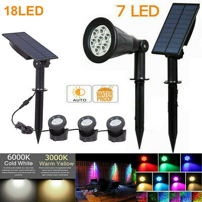 LED Garden Solar Spot Light Color Changing Wall Flood Lawn Outdoor Yard Lamp UK • 14.58£