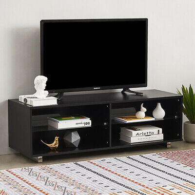 Modern Black TV Stand Cabinet Entertainment Unit Media Glass Shelves Livingroom  • 39.99£