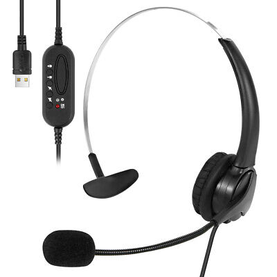 USB Call Center Headset Noise Cancelling Headphone With MIC For Computer Office • 13.39£