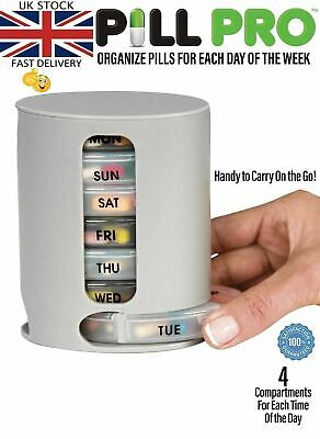 TABLET PILL BOX 7 Day Weekly Medicine Box Pill Organiser PILL PRO BOX • 4.98£