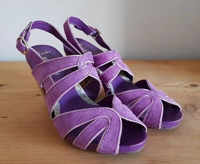 Clark's Shoes Size 5 Purple Wedding Special Occasion Sling Back  481 • 9.99£