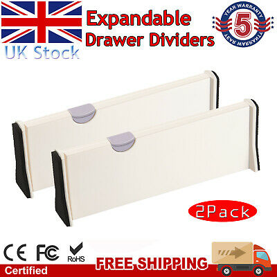 £8.99 • Buy 2 X Drawer Dividers Partition Spring Loaded Expandable Kitchen Bedroom Organiser