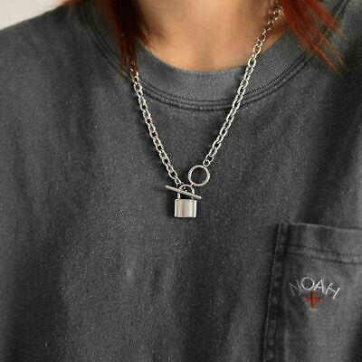 AU5.05 • Buy Lock Padlock Pendant Necklace For Women Long Chain Necklace Punk Jewelry Collar