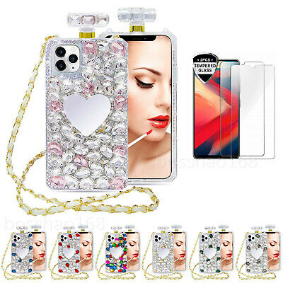NEW Perfume Bottle Bling Mirror Phone Cases & Screen Protector & Crossbody Chain • 15.98£