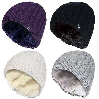£8.99 • Buy HEAT HOLDERS - Womens Ribbed Cable Knit Fleece Lined Thermal Knitted Beanie Hat
