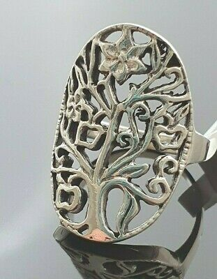 Ladies Chunky 925 Sterling Silver Tree Of Life Openwork Oval Ring Size M  • 16.95£