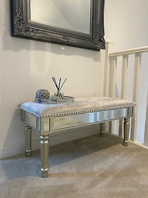 £129.95 • Buy Antique Silver Mirrored Glass Grey Crushed Velvet Bench Window Bedroom Seat B054