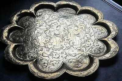Vintage 12'  Indian Brass Decorative Plate With Ornate Hand Crafted Design • 35£