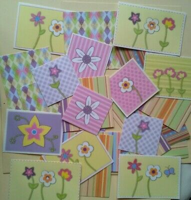 CARDMAKING TOPPERS Flowers Glitter Card Pieces Same Set Plus Die Cut Cats • 1.19£