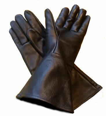 $28.86 • Buy Black Leather Gauntlet Gloves For Renaissance Faires, Cosplay, And Theater