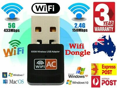 AU8.92 • Buy Dual Band 600Mbps USB WiFi Wireless Dongle AC600 Lan Network Adapter 2.4GHz 5GHz