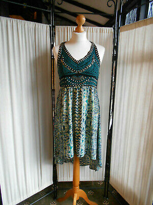 ANGIE AZTEC DRESS.Quirky.High Low Studded Design. Size S UK 10 Black/Green • 6£