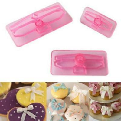 3pcs 3D Bow Bowknot Cake Icing Decorating Cookie Cutter Fondant Mould DIY FB • 2.22£