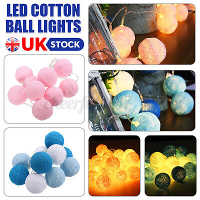 10 LED Globe Garland Cotton Ball String Fairy Lights Wedding Party Home Decor UK • 5.51£