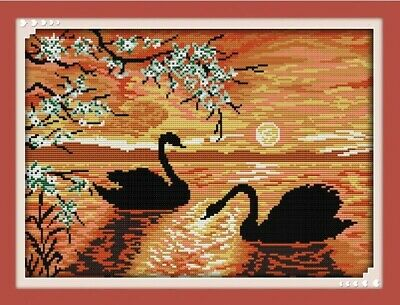 SWAN LAKE COUNTED CROSS STITCH KIT 14 COUNT WHITE AIDA FINISHED SIZE 40x30CM • 9.99£