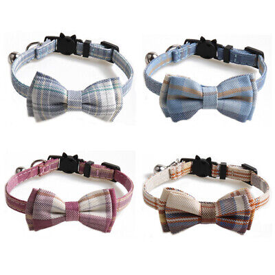 (CC088)  Tartan Pattern Bow Tie Cat Collar, Safety Release, Bow & Bell • 4.50£