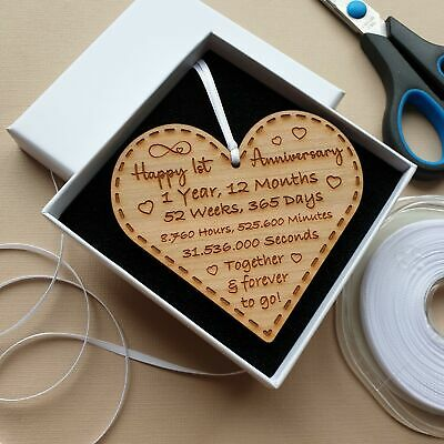 Cherry Engraved Anniversary Gift 1st 5th 10th 25th 50th Husband Wife Heart Shape • 4.97£