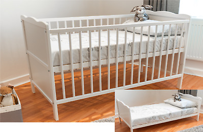 £119.99 • Buy White Baby Cot Bed 120x60cm & Cotbed & Foam Mattress,Converts Into A Junior Bed