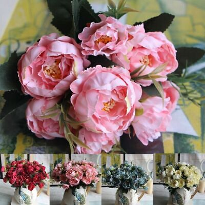 5 Heads Silk Peony Artificial Flowers Fake Rose Bouquet Home Wedding Party Decor • 5.19£